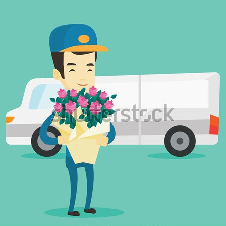 Lieferung Kurier halten Bouquet Blumen stehen Stock foto © RAStudio