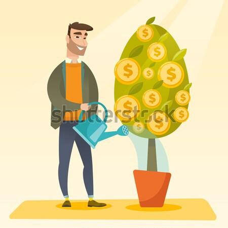 Stock fotó: Férfi · locsol · pénzügyi · fa · boldog · kaukázusi