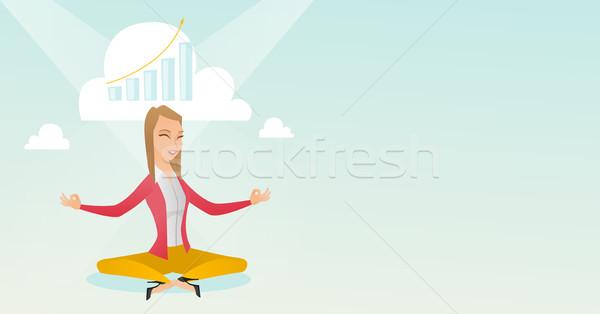 Peaceful business woman doing yoga. Stock photo © RAStudio