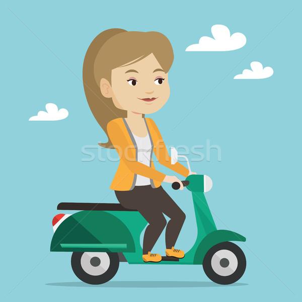 Nő lovaglás moped fiatal kaukázusi szabadtér Stock fotó © RAStudio