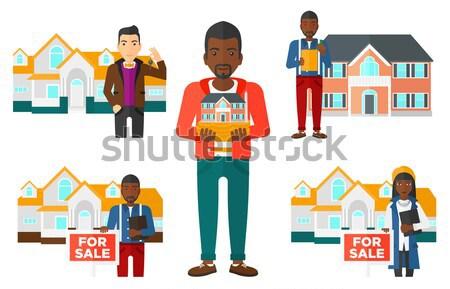 Makelaar sleutel eigenaar vriendelijk nieuwe Stockfoto © RAStudio
