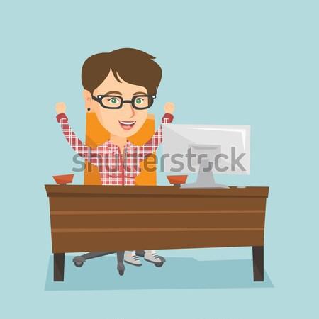 Cansado empregado escritório sonolento empresário Foto stock © RAStudio