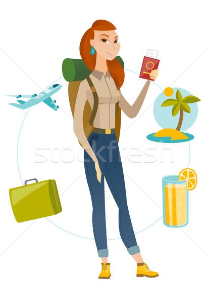 путешественник паспорта билета молодые Сток-фото © RAStudio
