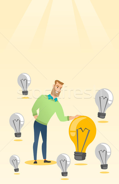 Caucasian business man having business idea. Stock photo © RAStudio