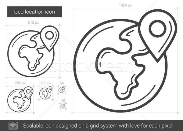 Ubicación línea icono vector aislado blanco Foto stock © RAStudio