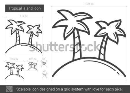 Тропический остров линия икона вектора изолированный белый Сток-фото © RAStudio
