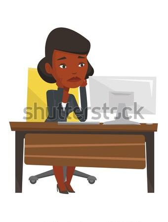 Сток-фото: исчерпанный · печально · сотрудник · рабочих · служба · сидят