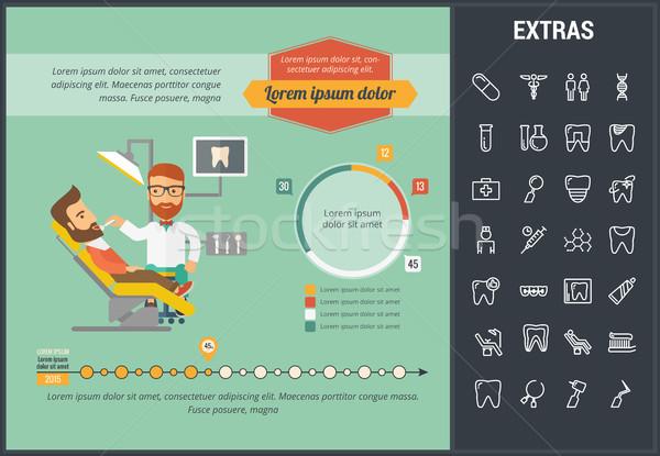 Odontología infografía plantilla elementos iconos personalizable Foto stock © RAStudio