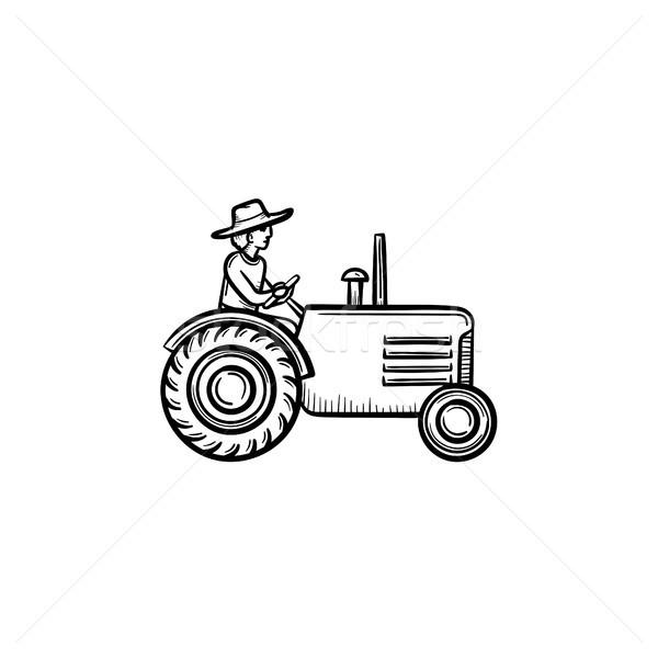 Stock fotó: Férfi · vezetés · traktor · kézzel · rajzolt · rajz · ikon