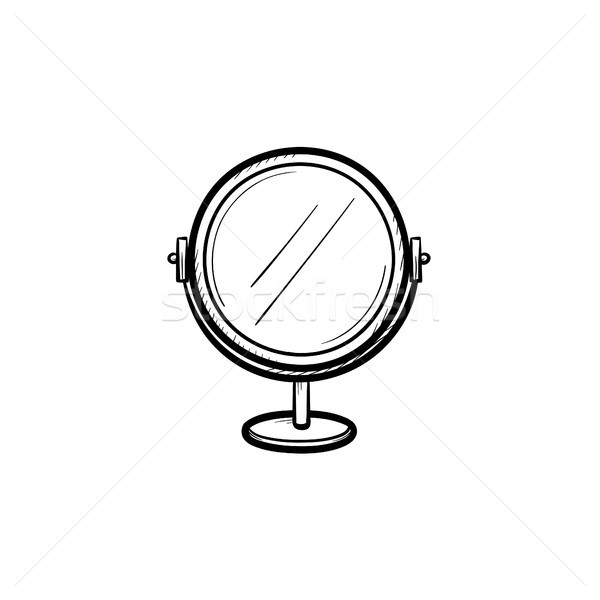 Round makeup mirror hand drawn sketch icon. Stock photo © RAStudio