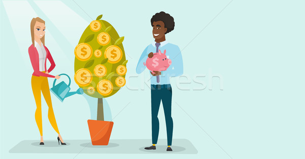 Young caucasian white woman watering money tree. Stock photo © RAStudio