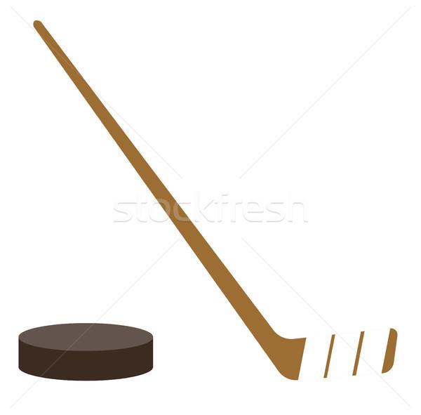 Ice hockey puck and stick vector illustration. Stock photo © RAStudio
