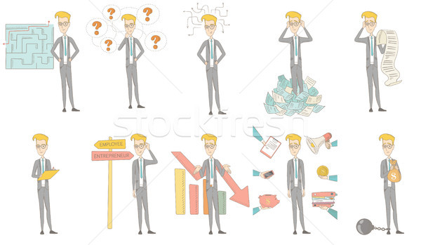 Caucasian businessman vector illustrations set. Stock photo © RAStudio