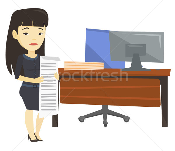 Disappointed business woman holding long bill. Stock photo © RAStudio