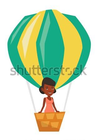 Asiático mulher voador balão de ar quente jovem feliz Foto stock © RAStudio