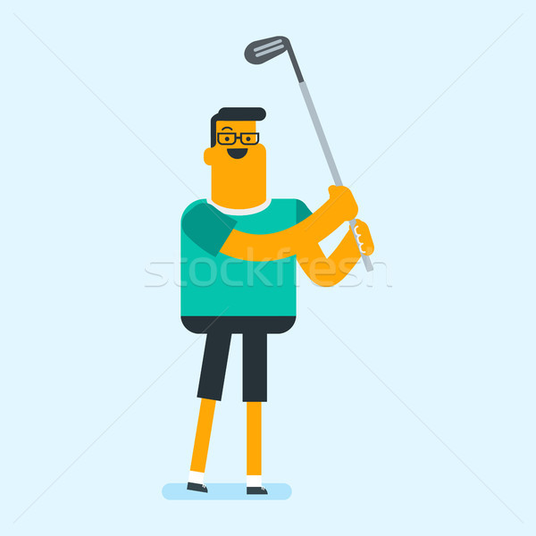 Young caucasian white golfer hitting the ball. Stock photo © RAStudio