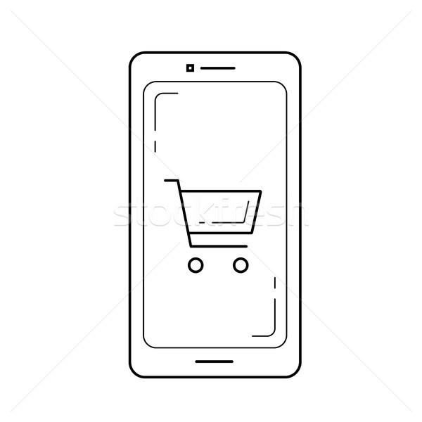 Stock fotó: Mobil · bolt · vonal · ikon · izolált · fehér