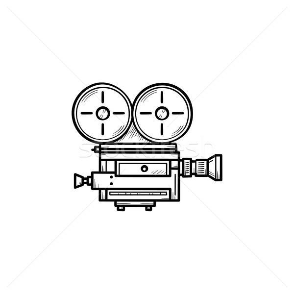 Retro videókamera kézzel rajzolt skicc firka ikon Stock fotó © RAStudio