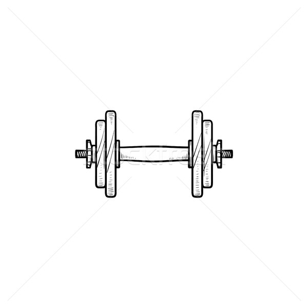 Dumbbell for gym hand drawn outline doodle icon. Stock photo © RAStudio