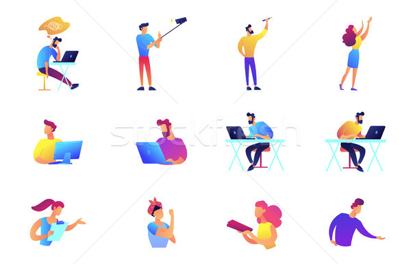 Stock photo: Programmers and businessmen vector illustrations set.