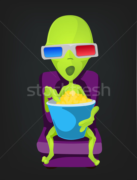 Vicces idegen rajzfilmfigura boldog film zöld Stock fotó © RAStudio