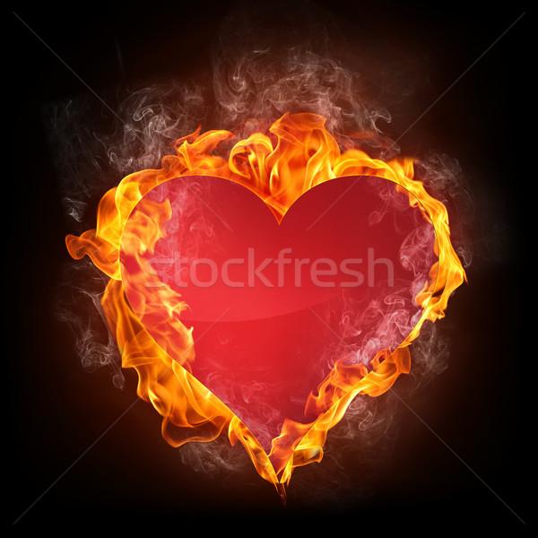 Kalp yangın bilgisayar grafikleri sevmek dizayn imzalamak Stok fotoğraf © RAStudio