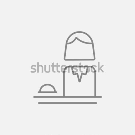 Kobiet recepcjonista cienki line ikona internetowych Zdjęcia stock © RAStudio