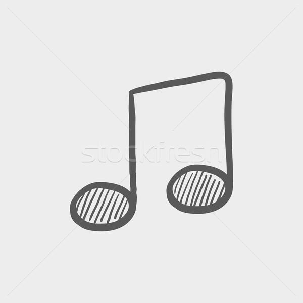 Zene jegyzet rajz ikon háló mobil Stock fotó © RAStudio