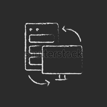 Drukarki ikona kredy tablicy Zdjęcia stock © RAStudio