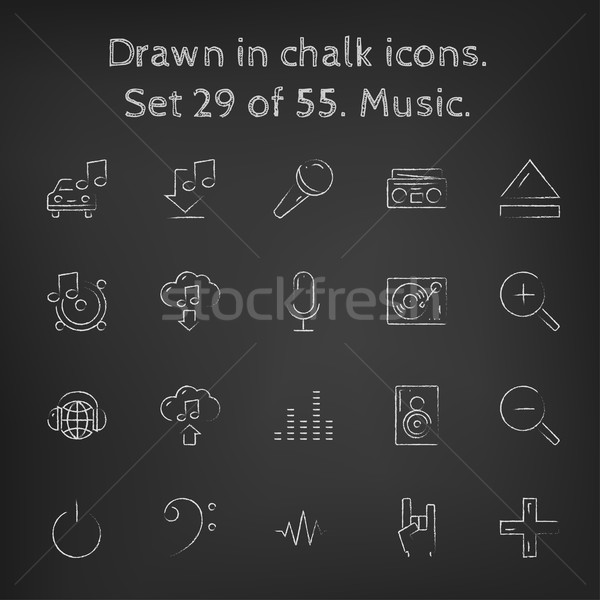 Сток-фото: музыку · мелом · рисованной · доске