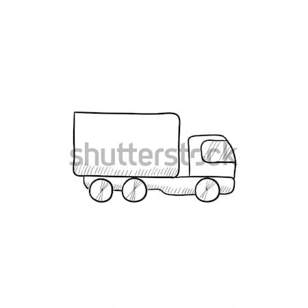 Foto d'archivio: Camion · di · consegna · icona · gesso · lavagna