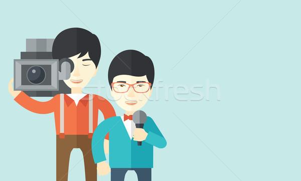 Stockfoto: Tv · verslag · asian · verslaggever · vector