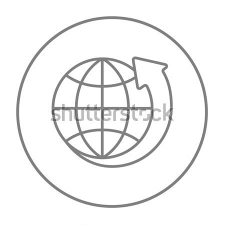 Earth and arrow around line icon. Stock photo © RAStudio