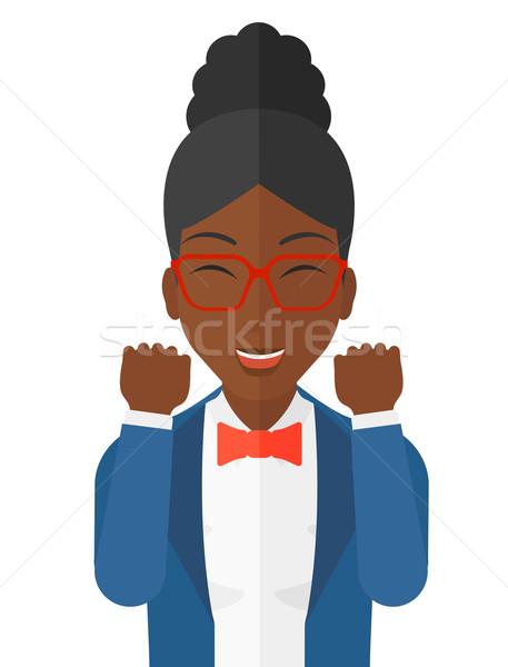 женщину эйфория поднятыми руками вектора Сток-фото © RAStudio