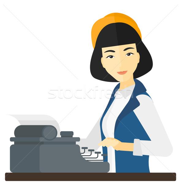 репортер рабочих машинку азиатских Дать вектора Сток-фото © RAStudio