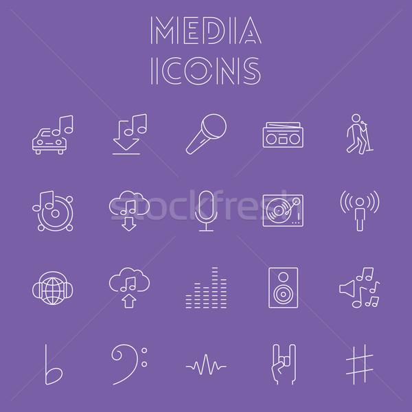 メディア ベクトル 光 紫色 アイコン ストックフォト © RAStudio