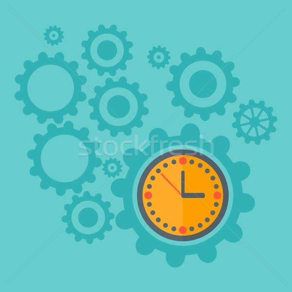 Background of cogwheels and clock mechanism. Stock photo © RAStudio