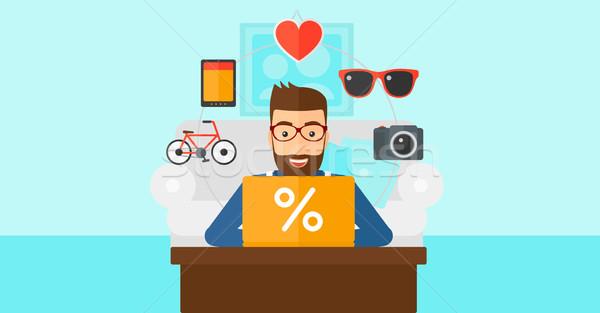 Stock fotó: Férfi · vásárlás · online · laptopot · használ · hipszter · szakáll