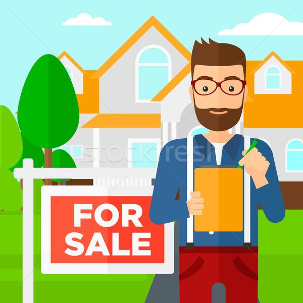 Agente immobiliare firma contratto documenti casa vendita Foto d'archivio © RAStudio