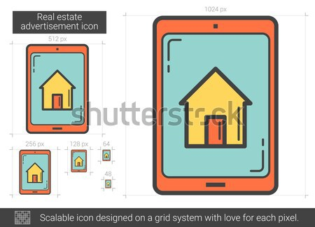 Propriété recherche mobiles appareil ligne icône Photo stock © RAStudio