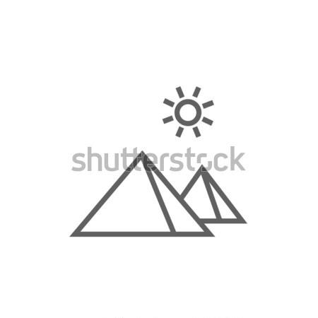 Egipcjanin piramidy line ikona internetowych Zdjęcia stock © RAStudio