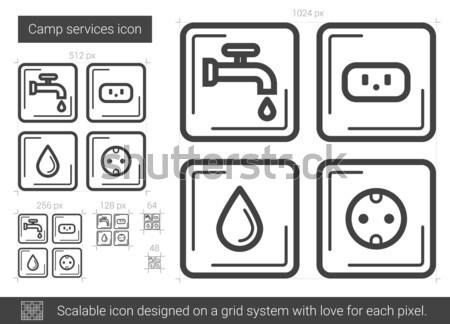 Borden elektriciteit water lijn icon hoeken Stockfoto © RAStudio