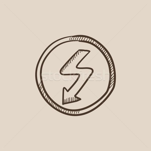 Bliksem pijl schets icon beneden binnenkant Stockfoto © RAStudio