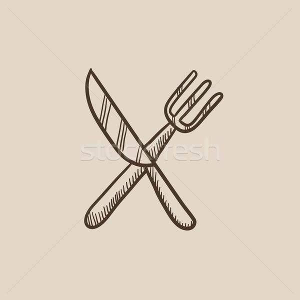Knife and fork sketch icon. Stock photo © RAStudio
