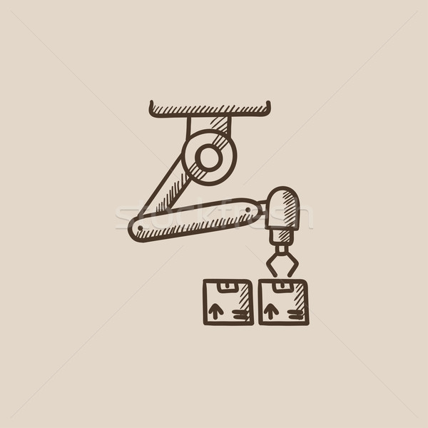 Robotic opakowań szkic ikona internetowych komórkowych Zdjęcia stock © RAStudio
