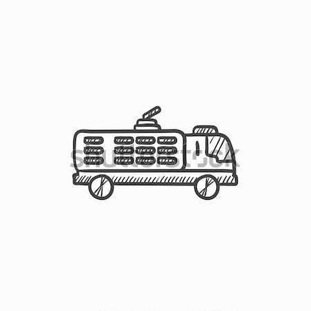 Fire truck sketch icon. Stock photo © RAStudio