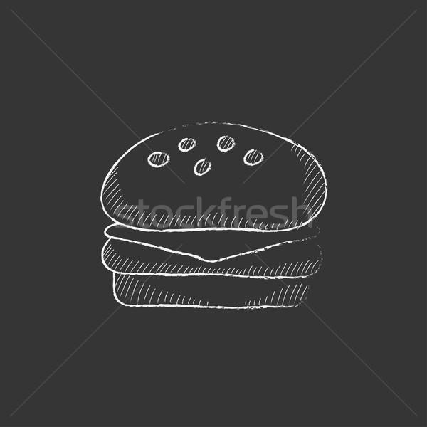 Hamburger craie icône dessinés à la main vecteur Photo stock © RAStudio