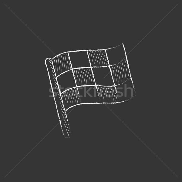 Checkered flag. Drawn in chalk icon. Stock photo © RAStudio