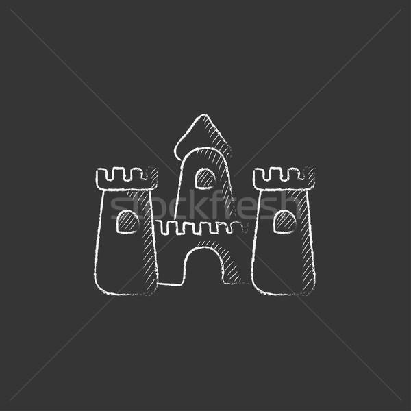 Homokvár rajzolt kréta ikon kézzel rajzolt vektor Stock fotó © RAStudio