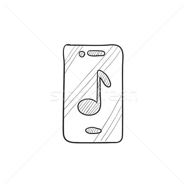 Telefon zenei hang rajz ikon vektor izolált Stock fotó © RAStudio
